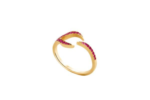 Ruby Leaf Ring